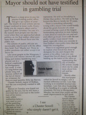 City of Dothan Police Department Chief John C. White Sunday November 7 1999 The Dothan Eagle 4-A Opinion