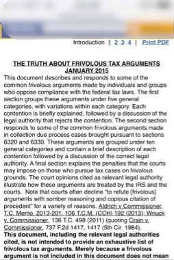 THE TRUTH ABOUT FRIVOLOUS TAX ARGUMENTS January 2015 IRS I.R.S. #IRS Internal Revenue Service