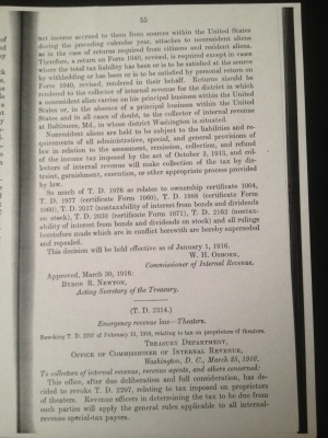 pg. 55 T. D. 2313 Income tax Treasury Department Office of Commissioner of Internal Revenue Washington D. C March 21 1916 Brushaber v. Union Pacific Railway Co. decided January 24 1916 W. H. Osborn Commissioner of Internal Revenue Approved March 30 1916 Byron R. Newton Acting Secretary of the Treasury