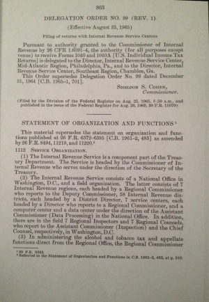 Internal Revenue Service Statement of Organization and Functions (I.R.S.)
