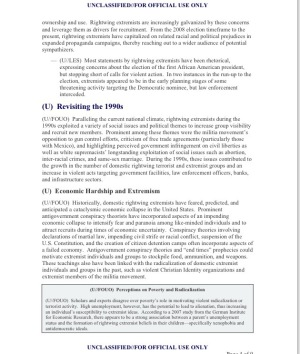 U.S. Department of Homeland Security Assessment (U/FOUO) Rightwing Extremism: Current Economic and Political Climate Fueling Resurgence in Radicalization and Recruitment Coordinated with the FBI Office of Intelligence and Analysis Prepared by the Extremism and Radicalization Branch Homeland Environmental Threat Analysis Division 7 April 2009 Page 4 of 9