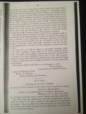 Treasury Decision (T. D. 2313) Income Tax page 55