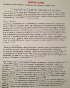 Complaint Against an Alabama Lawyer