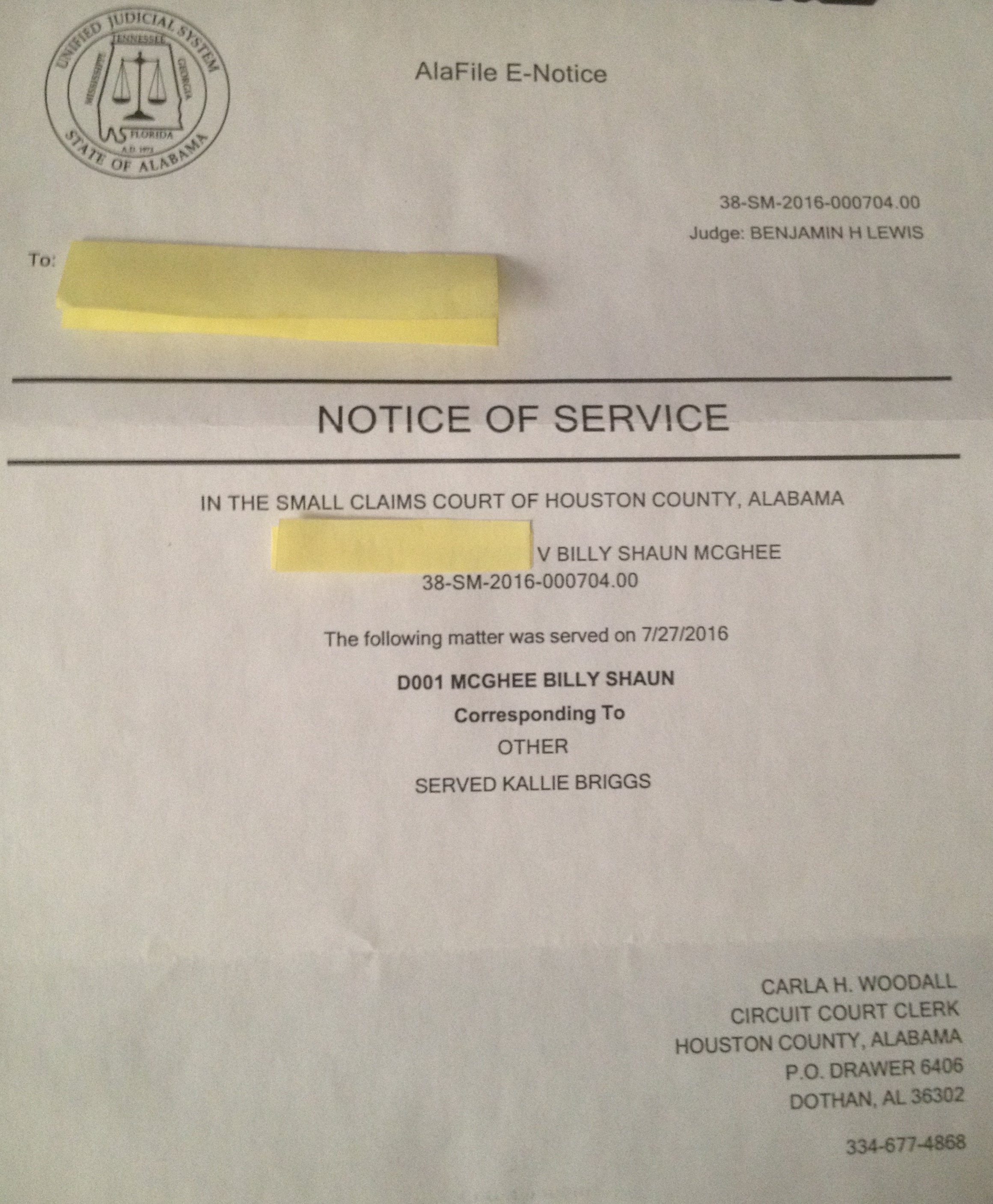 v Billy Shaun McGhee AlaFile E Notice Notice of Service In the