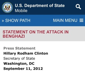 September 11, 2012 State Department Hillary Clinton