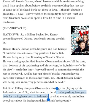 MSNBC Hardball Chris Matthews Birther Hillary Clinton