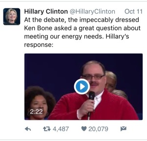 Hillary Clinton (@HillaryClinton Hillary Rodham Clinton) LIES to Ken Bone