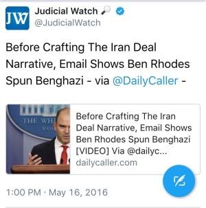 Judicial Watch (@JudicialWatch) Ben Rhodes White House (@WhiteHouse)