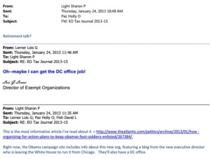 Lois Lerner wants to work for Barack Obama (@BarackObama Barack Hussein Obama) re-election campaign