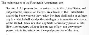 Fourteenth Amendment (14th Amendment) XIV Amendment
